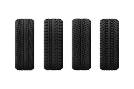 Tyres with different pattern isolated Illustration