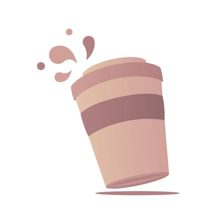 Paper cup of coffee with drops isometric 向量圖像