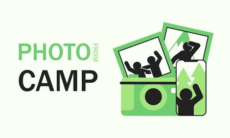 Photo from camp text with snapshots, photo on smartphone and camera. Concept photo on camera and cellphone camping, travel and outdoor banner
