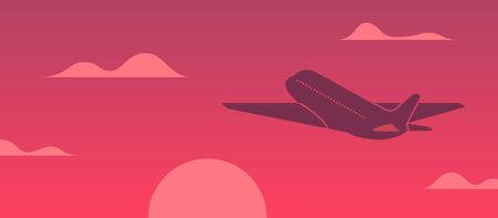 Airplane flying in the sky at sunset vector illustration. Concept vacation with plane and red sunset background Vectores
