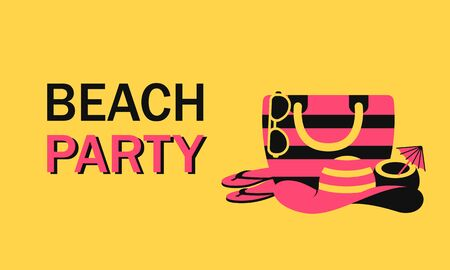 Summer beach party vacation with beach accessory. Vector illustration for web with beach bag, woman hat, sunglasses, sandal and cocktail coconut