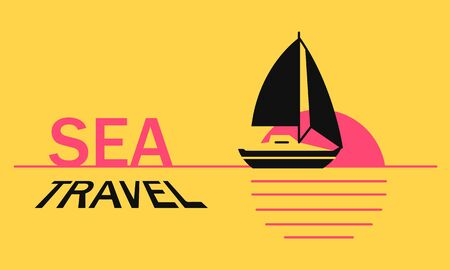 Sea travel summer vacation on sailboat in ocean at sunset. Concept boat trip vacation and travel with text for web  イラスト・ベクター素材