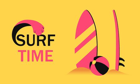 Surf time concept with surfboard in sand and ball banner. Concept summer vacation with surfing