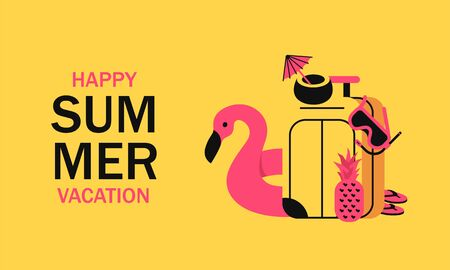 Summer vacation with travel suitcase, inflatable pink flamingo, diving mask, coconut cocktail and pineapple. Concept traveling and vacation minimalistic style with vibrant colors 版權商用圖片 - 147828109