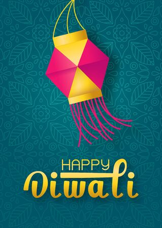Concept festival Diwali with paper lantern and lettering happy Diwali on green indian background