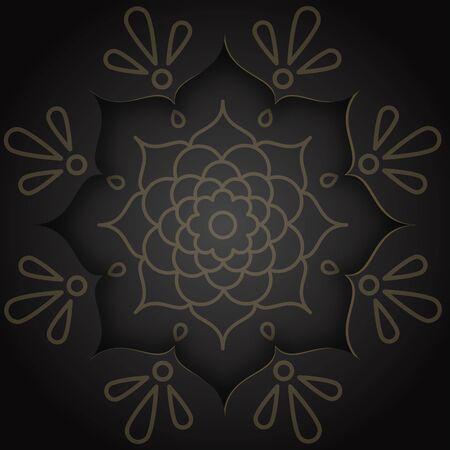 Indian design card in paper style with rangoli and mandala pattern on black background Illustration