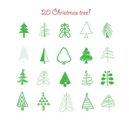 chrismas: 20 vector doodle Chrismas tree collection Illustration