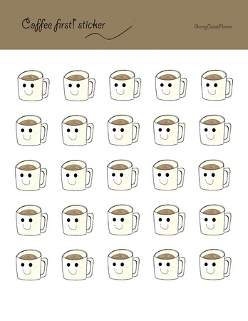 planner: cute Coffee sticker planner icon printable