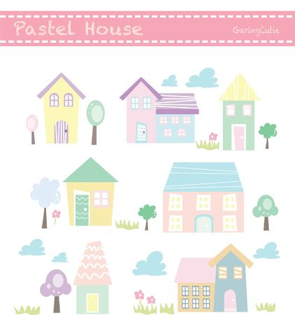 cute house: Pastel cute house vector tree flower