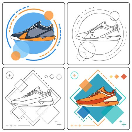 run sneakers easy editable Illustration