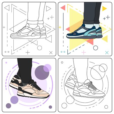 show off sneakers easy editable Stock Vector - 128050145