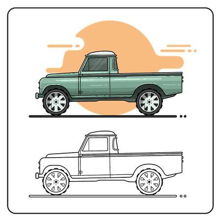 green truck pickup car 向量圖像