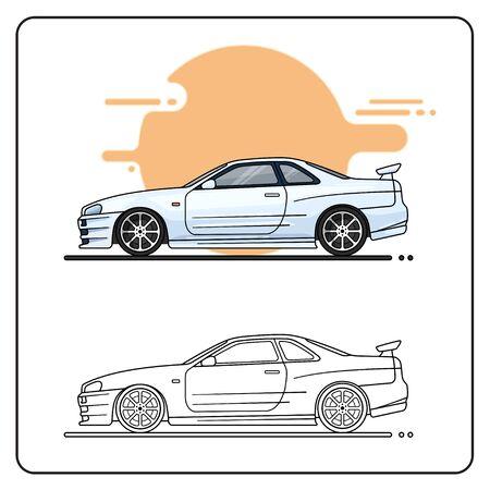 SILVER SPORT CAR EASY EDITABLE 向量圖像
