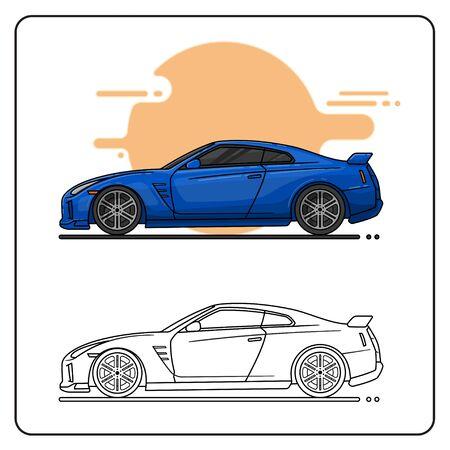 BLUE SPORT CAR EASY EDITABLE