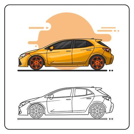 YELLOW SPORT CAR EASY EDITABLE