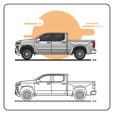 modern pickup car easy editable