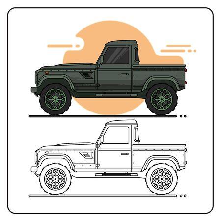 GREEN CAR PICKUP EASY EDITABLE 向量圖像