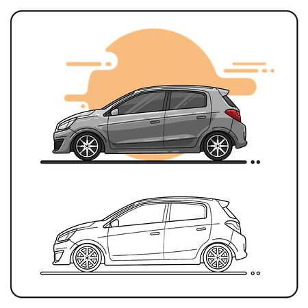 grey city car easy editable
