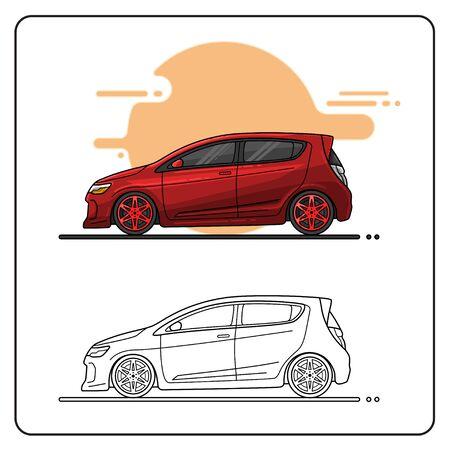 maroon city car easy editable Illusztráció