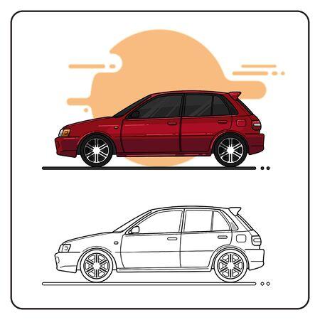 Maroon city Car easy editable