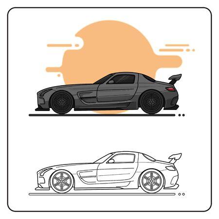 black racing car easy editable