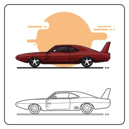 maroon car side view easy editable Ilustração