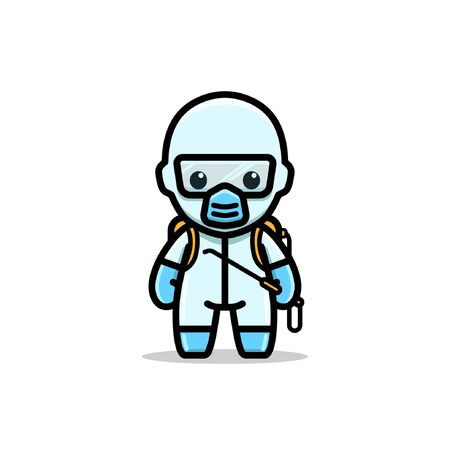 MEDICAL DISINFECTANT SUIT CHARACTER ILLUSTRATION  イラスト・ベクター素材