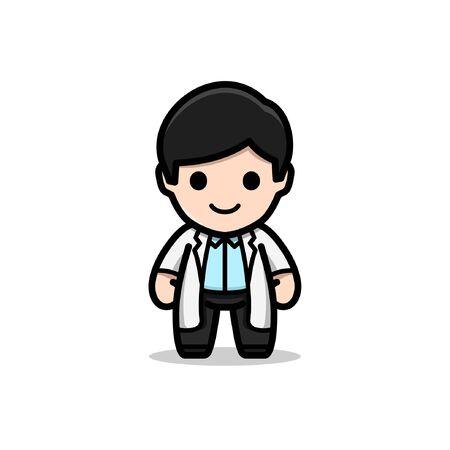 Cute doctor mascot cartoon character  イラスト・ベクター素材