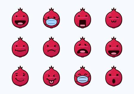 red pomegranate emoticon set collection Иллюстрация