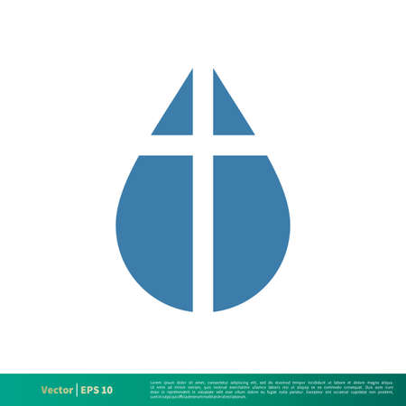 Drop Water Cross Icon Vector Logo Template