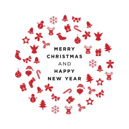 Merry Christmas and Happy New Year Eve Greeting Card Vector Template Illustration Design. Vector EPS 10.