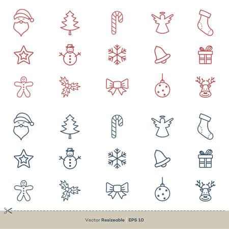 Christmas Element Icon Set Vector Logo Template Illustration Design. Vector EPS 10.