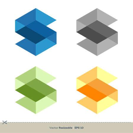 Set S Letter Hexagonal Shape Icon Vector Logo Template Illustration Design. Vector EPS 10.
