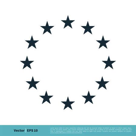Europe Flag Star Icon Vector Template Illustration Design.