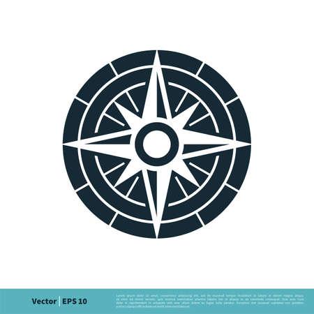 Compass Rose Icon Vector Logo Template Illustration Design. Illustration