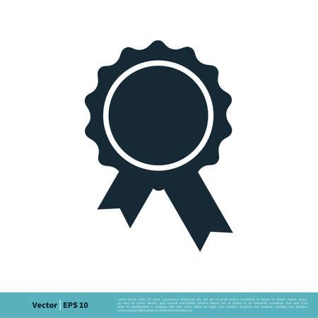 Award Ribbon Rosette Badge Icon Vector Logo Template Illustration Design. Illustration