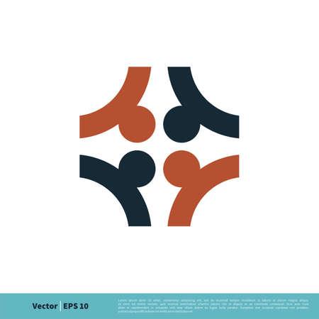 Colorful Teamwork, Union, Community Icon Vector Logo Template, Illustration