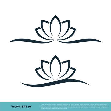 Ornamental Lotus Lily water Flower Icon Vector Logo Template Illustration Design. Illustration