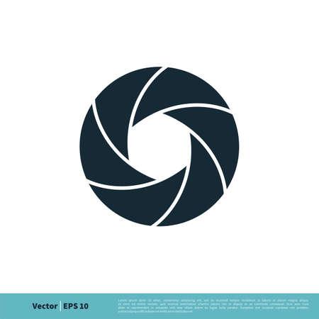 Shutter Lens Photography Icon Vector Logo Template Illustration Design. Illustration