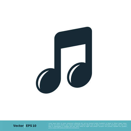 Musical Melody Note Icon Vector Logo Template Illustration Design.