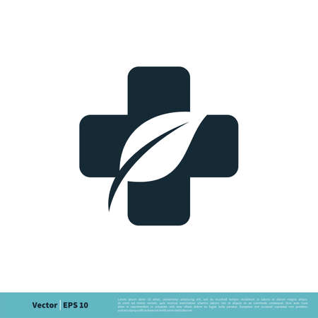 Health Care Cross and leaf Icon Vector Logo Template Illustration Design. Çizim