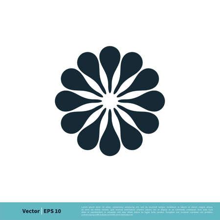 Ornamental Flower Icon Vector Logo Template Illustration Design. Stock Illustratie