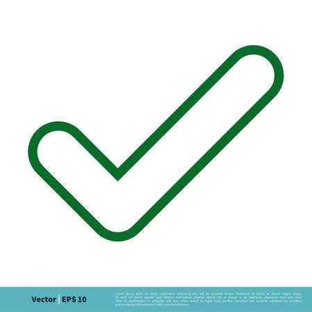 Green Check Mark Line Art Icon Vector Logo Template Illustration Design.