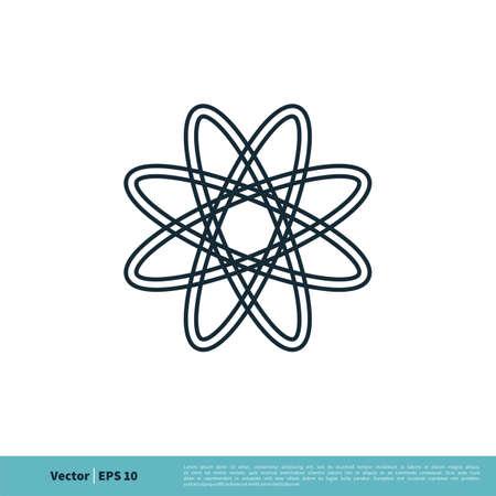 Atom Nuclear Icon Vector Logo Template Illustration Design.