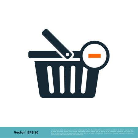 Basket Cart Shopping, e-Commerce Icon Vector Logo Template Illustration Design.