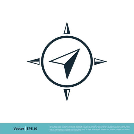 Arrow Compass Navigator Icon Vector Logo Template Illustration Design.