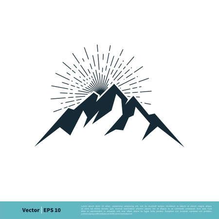 Rock Mountain Icon Vector Logo Template Illustration Design. Vector EPS 10.