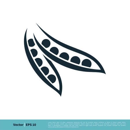 Pea Pod Icon Vector Logo Template Illustration Design. Vector EPS 10.