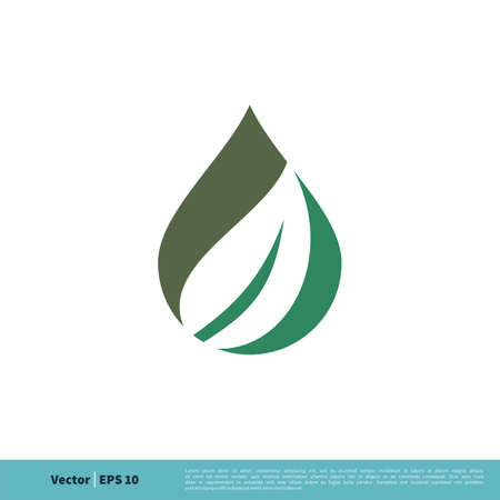 Drop Water and Leaf Icon Vector Logo Template Illustration Design. Vector