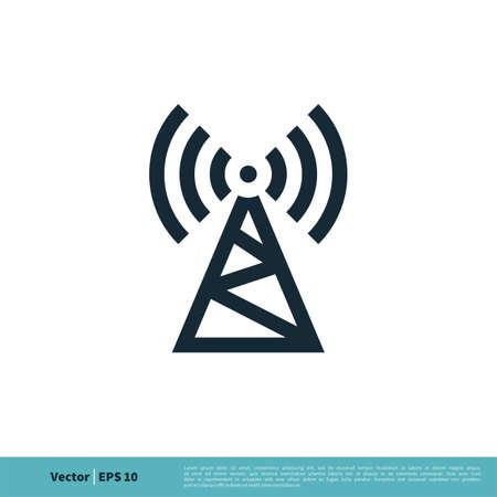 Signal Tower Icon Logo Template Illustration Design.